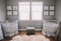 Serene Grey & White Twin Nursery  |  The Frosted Petticoat