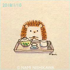 1378 お茶の時間 tea time 中国茶をいただいてきました。 #illustration #hedgehog #イラスト #ハリネズミ #なみはりねずみ