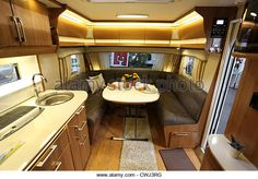 Interior of a modern camper van at the Caravan Salon Exhibition 2012 on August 27, 2012 in Dusseldorf, Germany - Stock Image