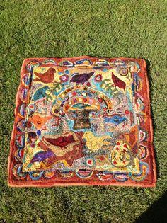 Primitive Hooked Rug 28X23 rug hooking hand hooked rug by N2Hookin