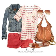 Red Striped Tee, created by uniqueimage