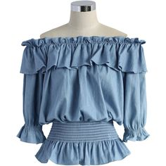 Chicwish Ruffled Off-shoulder Top in Chambray ($38) ❤ liked on Polyvore featuring tops, blouses, chicwish, blue, blue crop top, frilly blouse, off shoulder ruffle blouse, crop blouse and blue off the shoulder top