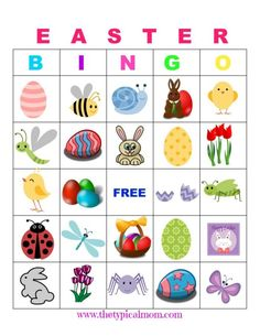 Easter Bingo is so much fun and a great party game to play with friends and relatives. Here are free printable Easter bingo cards to play at school if you're a teacher or a parent having a holiday party or just looking for a rainy day activity. Easter Bingo, Easter Games, Easter Activities, Hoppy Easter, Easter Party, Infant Activities, Senior Activities, Halloween Activities, Senior Gifts