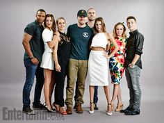 David Ramsey, Katie Cassidy, Emily Bett Rickards, Stephen Amell, Paul Blackthorne, Willa Holland, Caity Lotz, and Colton Haynes at San Diego Comic-Con 2014