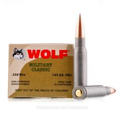 Wolf 308 Win Ammo - 500 Rounds of 145 Grain FMJ Ammunition #308Winchester #308WinAmmo #Wolf #WolfAmmo #Wolf308Win #FMJAmmo #WolfMilitaryClassic