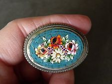 $35 Unsigned Italian Sterling ALD Micro Mosaic Oval & Multicolor Floral Brooch Pin