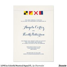 Simple Wedding Invitations LOVE in Colorful Nautical Signal Flags Invitation Wedding Planning Insigh Boat Wedding, Yacht Wedding, Nautical Wedding, Simple Wedding Invitations, Wedding Invitation Cards, Zazzle Invitations, Invite, Nautical Bunting, Nautical Theme