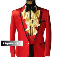 Best Man 5 Piece Red Slim Fit Fashion Wedding Prom Tuxedos Dress ...