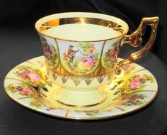 Western Germany Fragonard Love Story Tall Tea Cup and Saucer Set   eBay