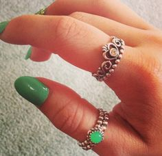 PANDORA Rings with a Splash of Green, Love how it Matches the Nails