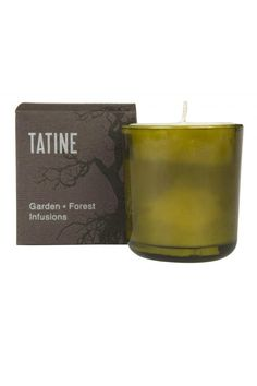 """Handmade in Chicago, the Tabac candle is full of scents of orange honeyed pipe tobacco along with gourmand notes of roasted nut and caramel blended with burnt herbal and wood notes. Each candle is hand-poured into heavyweight, vintage modern glassware made with 40% recycled materials. Its wick is 100% cotton.    Measures 2-1/2"""" dia. x 3-3/4""""H (6-oz.). It has an approximate burn time of 45 hours.   Tabac Candle by Tatine. Home & Gifts - Home Decor - Candles & Scents Lambertville, New Jersey"""