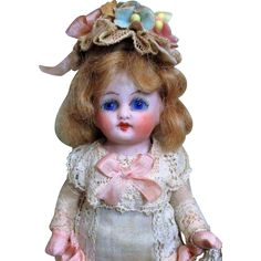 """Gorgeous 5"""" All Bisque (Glass eyes) German Mignonette Dollhouse doll"""