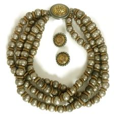 Ben Amun Set Silver and Gold Four Strand by StoneVintageJewelry