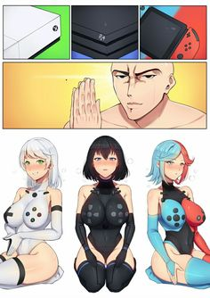 Xbox, and Nintendo Switch as anime women Anime Sexy, Anime Sensual, Anime Comics, Kawaii Anime, Female Characters, Anime Characters, Character Art, Character Design, Fan Art Anime