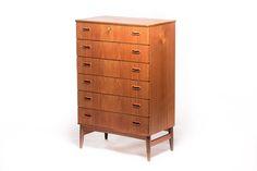 """Vintage Danish """"tallboy"""" chest of drawers - Vintage Furniture Base"""