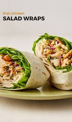 Thai Chicken Salad Wraps - Chicken salad infused with Thai flavors all rolled up in a wrap. Lunch Snacks, Lunch Recipes, Dinner Recipes, Cooking Recipes, Healthy Recipes, Lunches, Healthy Dinners, Greek Chicken Salad, Chicken Salad Wraps