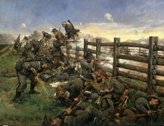 A Keith Rocco painting that depicts Brig. Gen. William E. Starke's 2nd Louisiana Brigade (1st, 2nd, 9th, 10th, and 15th Louisiana Regiments and Coppen's Louisiana Battalion) fighting the Iron Brigade across the Hagerstown Pike at Antietam. This was the spot where the infamous photograph by Alexander Gardner, of the dead Confederates along the west side of the Hagerstown Pike was taken.