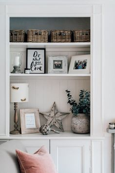 Alcove Shelving Shelf Styling - Elle's Modern Country Sitting Room