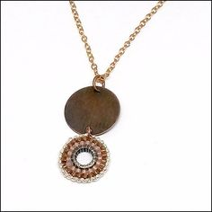 One-of-a-kind hand-beaded pendant of Japanese Miyuki, antiqued brass and rose gold-fill, hanging from an rose gold-fill chain. Gold Filled Chain, Artisan Jewelry, Antique Brass, Jewelry Design, Rose Gold, Pendant Necklace, Pearls, Antiques, Beauty