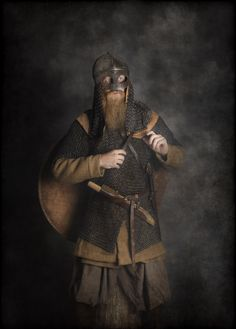 Modern Viking - in traditional clothes. Real reenacted.   Photo Jim Lyngvild