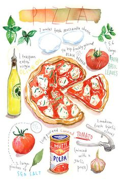 Pizza painting print Kitchen wall art Red kitchen decor Italian food Home decor Food art Watercolor print Pizza illustration Pen And Watercolor, Watercolor Paintings, Art Paintings, Recipe Drawing, Kitchen Posters, Wall Art Prints, Canvas Prints, Kitchen Wall Art, Red Kitchen