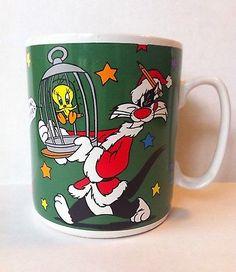 Warner Brothers 1997 Looney Tunes Sylvester Tweety Christmas Oversize 30 oz mug