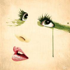 Lindsay by Oscar Delmar . watercolor.face.illustration
