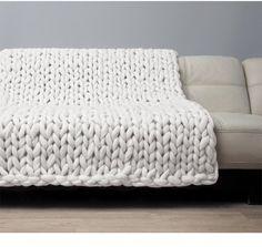 Super Chunky Blanket. Giant Knitted Merino Wool Throw. Big Yarn. Grande Punto. Big stitch blanket by woolWow! Milk color