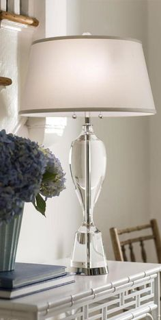 solid crystal table lamps | room decor with flowers and solid crystal and lacquered nickel plated table lamp