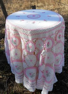 Vintage Pink Crochet Tablecloth with Embroidery by Holliezhobbiez