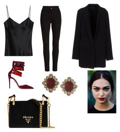 """Untitled #107"" by vocabularyfashion on Polyvore featuring Aquazzura, Galvan, AG Adriano Goldschmied, Twin-Set, Marchesa and Prada"