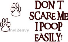 Dont Scare Me I Poop Easily with Dog Paw Vinyl Car by Vinyl2Envy, $3.50