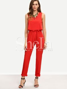 Red+Sleeveless+Bow+Tie+Waist+Jumpsuit+26.99