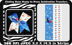 Finding Nemo Ready to Press Sublimation Bow Strips