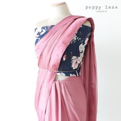 Simple Chic Pink Georgette Sari.  Shop now at poppylane.ca