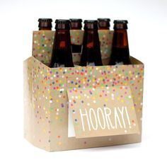 Hooray! Beer Gift Box.  The perfect way to say Congratulations to your favorite Beer Lover.  | Beer Greetings Six-Pack Carriers + Greeting Cards in One!