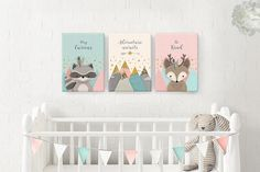 Woodland nursery, Nursery decor, Nursery canvas, Nursery animal set, Forest Friends, Set of 3, Nursery art, deer, nursery canvas set, Giclee.  Be right on trend with this Adorable, genuine handmade giclee woodlands canvas art set! The set features 2 cute Forest Friends - Raccoon and Deer - and a beautiful Mountains view, on a delicately textured Pink, Mint and Ivory background, enriched with Faux Gold, along with Inspirational quotes: Raccoon: Stay Curious Deer: Be Kind Mountains: Find…