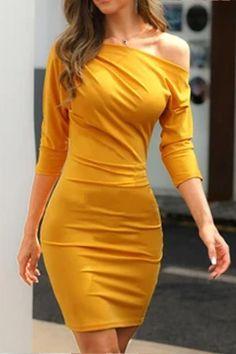 Solid Skew Neck Bodycon Dress – streetstylepop Trend Fashion, Look Fashion, Fashion Women, Fashion Black, Fashion Online, Xl Fashion, Fashion Tips, Buy Dress, Dress Up