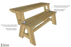 Great idea for convertible table and bench, easy to realise!
