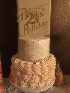 Pink and Gold Victorian 21st Birthday Cake