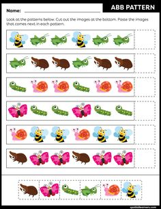 These FREE printable worksheets for kids are great for practicing spatial concepts! These patterns worksheets can be used as homework, bell-ringer activity, warm-up activity, or speech therapy work. Fun activity for your kindergarten or grade 1 students! Free Printable Worksheets, Worksheets For Kids, Printables, Preschool Learning Activities, Toddler Activities, Pattern Worksheet, Math Patterns, Math Books, Work Fun