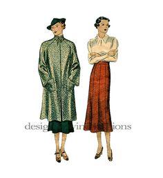 MODÈLE de manteau des années 1930 & jupe modèle Swagger manteau, col haut…