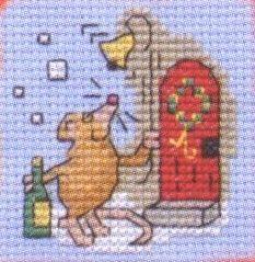 Christmas Party Mouse: Cross stitch (Mouseloft, 014-C36stl)