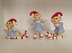 Vintage Christmas Norcrest candy cane elf wlves skis trio vintage Japan