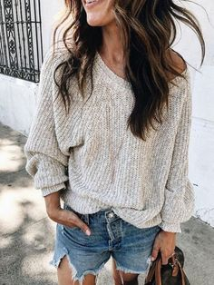 >>>Cheap Sale OFF! >>>Visit>> Sweater and shorts outfit idea Short Outfits, Spring Outfits, Casual Outfits, Cute Outfits, 30 Outfits, Womens Fashion Outfits, Grunge Outfits, Fashion 2017, Ladies Fashion