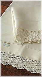 Our grandmother did crocheting like this on pillowcases and dresser scarfs. I love crocheted lace on white pillowcases.