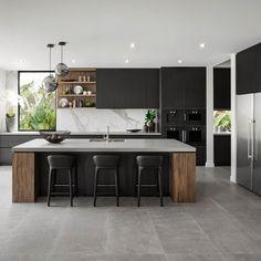 Coloured Kitchen Cabinets and Other Design Trends Landing Soon Kitchen Room Design, Living Room Kitchen, Kitchen Layout, Home Decor Kitchen, Interior Design Kitchen, Home Kitchens, Kitchen Ideas, Luxury Kitchen Design, Modern Kitchens