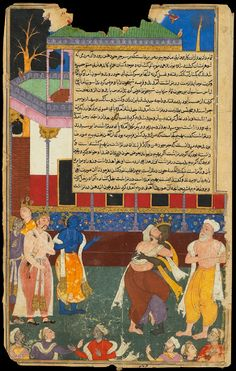 North India 1616 - 1617. The Razmnama ,the Persian translation of the Mahabharata, the great Indian Hindu Epic; a scene where Lord Krsna (the blue figure) intervenes. Artist: Qasim for 'Abd ur-Rahm Khankanan. Gouache and gold on paper.