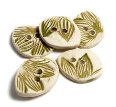 SALE Handmade Ceramic Stoneware Buttons  Olive by lindabelinda (Craft Supplies & Tools, Sewing & Needlecraft Supplies, Buttons & Fasteners, clay, ceramic, pottery, stamped, texture, handmade, custom, leaves, green, petal)