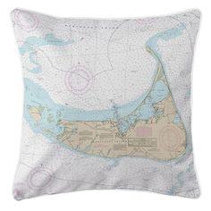 Nautical Chart Pillow-Nantucket